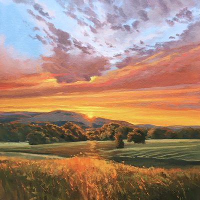 field of sunset with trees painting