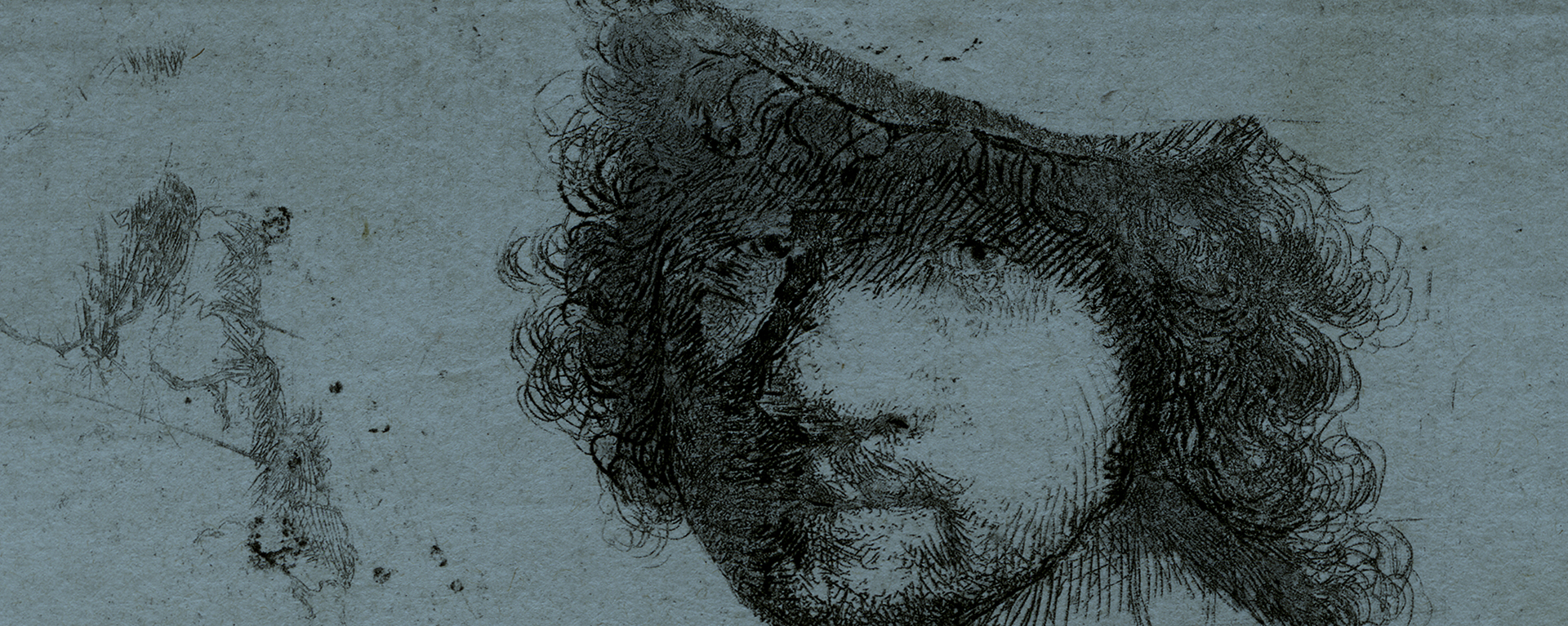 Rembrandt Van Rijn - etching - head of artist
